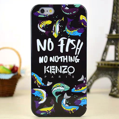 Задняя накладка Kenzo Series iPhone 6 TPU Case - Black No Fish No Nothing